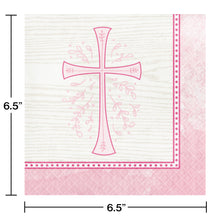 Load image into Gallery viewer, Religious Pink Cross Luncheon Paper Disposable Napkins – 16 Count