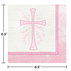Religious Pink Cross Luncheon Paper Disposable Napkins – 16 Count