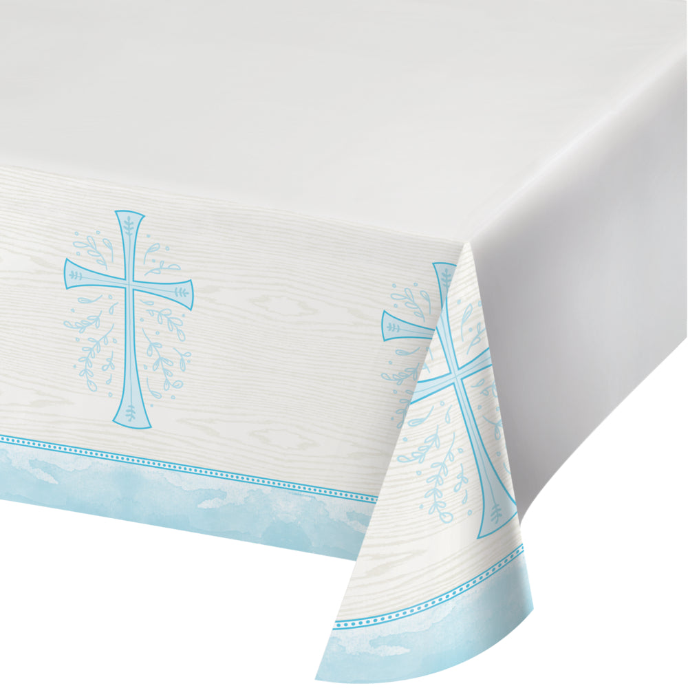 Religious Light Blue Cross Plastic Disposable Table Cover 54 X 102 inches