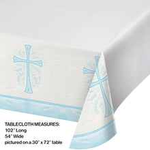 Load image into Gallery viewer, Religious Light Blue Cross Plastic Disposable Table Cover 54 X 102 inches