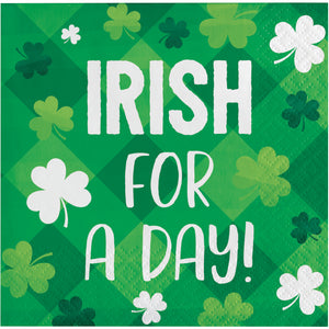 "St Patrick's ""Irish for a day"" beverage cocktail napkins – 16 Count"
