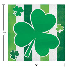 Load image into Gallery viewer, St Patrick's Irish Shamrocks Stripes beverage cocktail napkins – 16 Count
