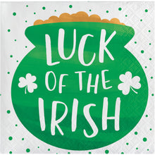 "Load image into Gallery viewer, St Patrick's ""Luck of the Irish"" beverage cocktail napkins – 16 Count"