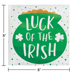 "St Patrick's ""Luck of the Irish"" beverage cocktail napkins – 16 Count"