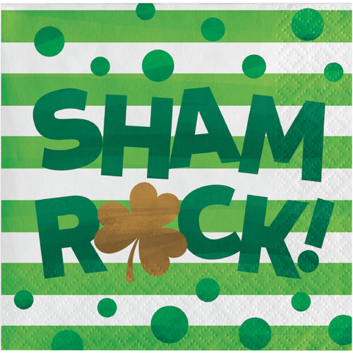 St Patrick's Irish Shamrocks Shamrock beverage cocktail napkins – 16 Count