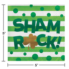 Load image into Gallery viewer, St Patrick's Irish Shamrocks Shamrock beverage cocktail napkins – 16 Count