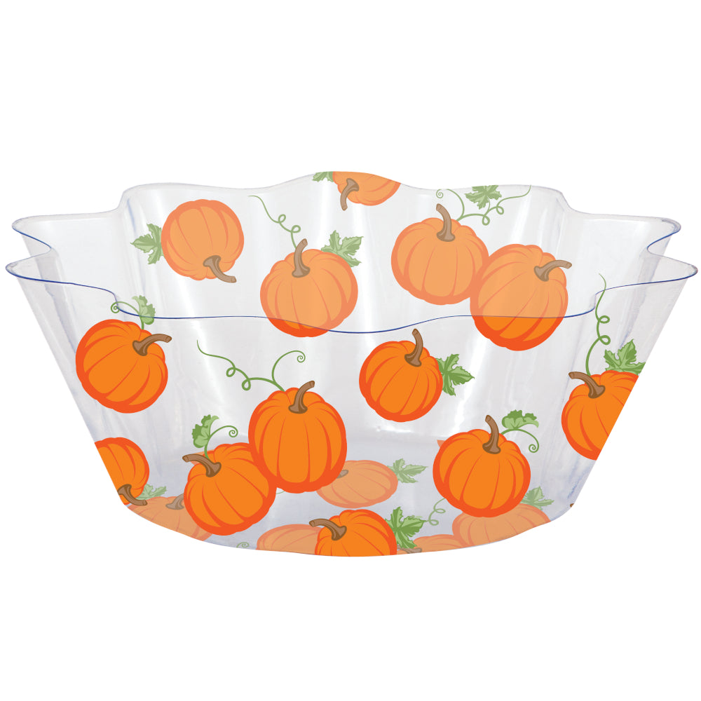 Harvest Fall Pumpkins and Leaves Plastic Fluted Serving Bowl – 1 Piece