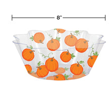 Load image into Gallery viewer, Harvest Fall Pumpkins and Leaves Plastic Fluted Serving Bowl – 1 Piece