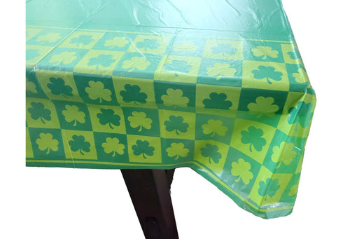 St. Patrick's Day Green Shamrock Disposable Plastic Rectangular Table Cover – 2 Pieces