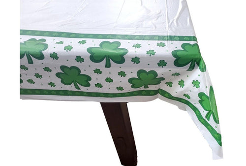 St. Patrick's Day Shamrock Disposable Plastic Rectangular Table Cover – 2 Pieces