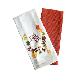 "Harvest Autumn Design Woven Kitchen Towels ""Hello Fall"" - 2 Pack"