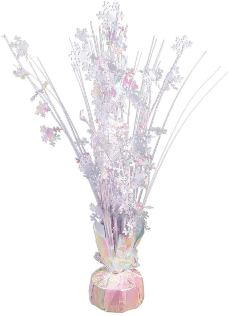 "Iridescent White Snowflake 15"" Balloon Weight Centerpiece – 1 Piece"