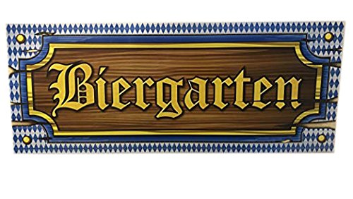 Oktoberfest Biergarten Sign 20 Inches Long Cardboard Party Decoration Set of 2