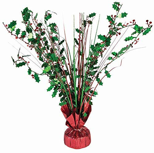 "Green and Red Holly Berry 15"" Balloon Weight Centerpiece – 1 Piece"