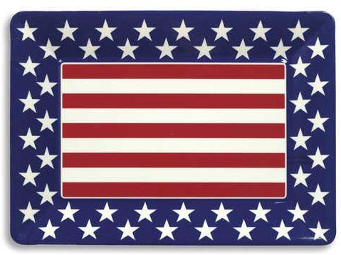 "Red, White and Blue Patriotic 14 x 10"" Plastic Serving Tray"