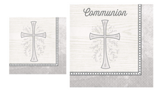 Load image into Gallery viewer, Religious Silver Cross Beverage and Communion Luncheon Paper Disposable Napkins Bundle
