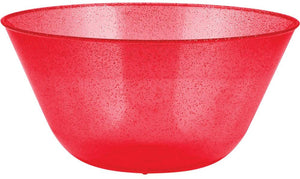 Christmas Red Glitter Plastic Serving Bowl – 1 Piece