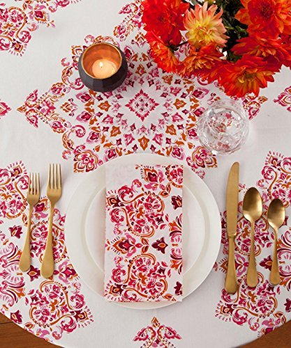 Echo Design Parvani Cotton Blend Round Tablecloth 70 inch