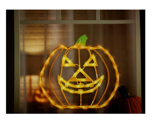 Halloween Lighted Jack-o-Lantern Pumpkin Window Decoration – 1 Piece