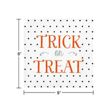 Load image into Gallery viewer, Halloween Trick or Treat Paper Beverage Cocktail Napkins – 16 Count