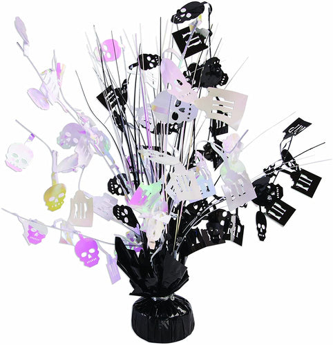 "Halloween Black and White Skull 15"" Balloon Centerpiece – 1 Piece"
