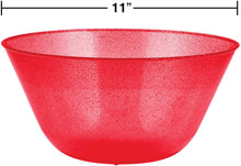 Load image into Gallery viewer, Christmas Red Glitter Plastic Serving Bowl – 1 Piece