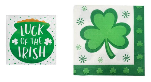 "St. Patrick's Day Shamrock and ""Luck of the Irish"" Disposable Paper Luncheon/Beverage Napkins Combo"