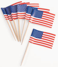 Load image into Gallery viewer, Patriotic Flag Party Appetizer, Cupcake Picks 100 Pieces