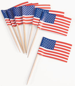 Patriotic Flag Party Appetizer, Cupcake Picks 100 Pieces