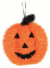 Load image into Gallery viewer, Halloween Tinsel Pumpkin Jack-o'-Lantern Hanging Decoration – 2 Pieces