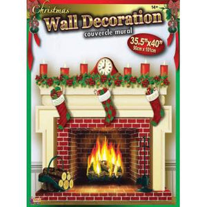 Christmas Fireplace Wall Decoration - 1 Piece