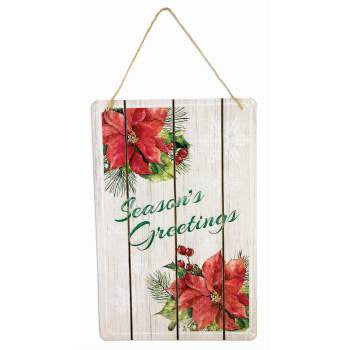 "Christmas Wood Plaque ""Seasons Greetings"" 9.25 X 14"" – 1 Piece"