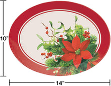 Load image into Gallery viewer, Christmas Holiday Red Poinsettia Plastic Oval Serving Tray – 1 Piece