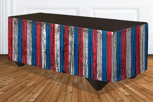 Patriotic Red, Silver and Blue Tinsel Fringe Table Skirt – 1 Piece