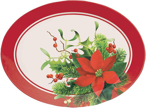 Christmas Holiday Red Poinsettia Plastic Oval Serving Tray – 1 Piece