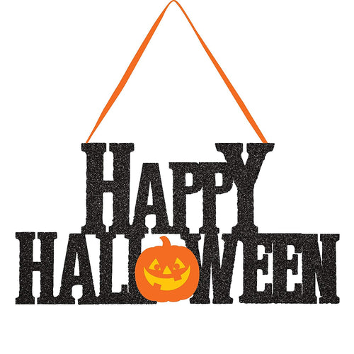 Happy Halloween Glitter Hanging Sign, 5.5