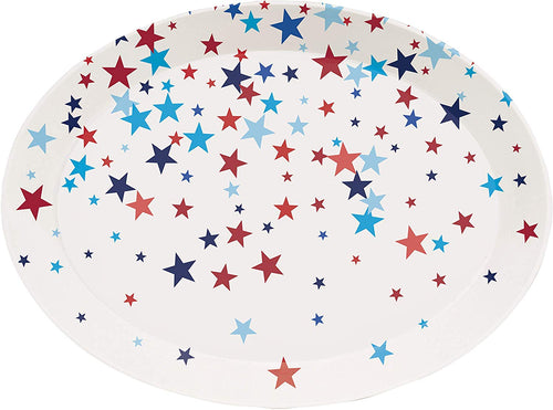 "Red, White and Blue Stars  14 x 10"" Plastic Serving Tray"