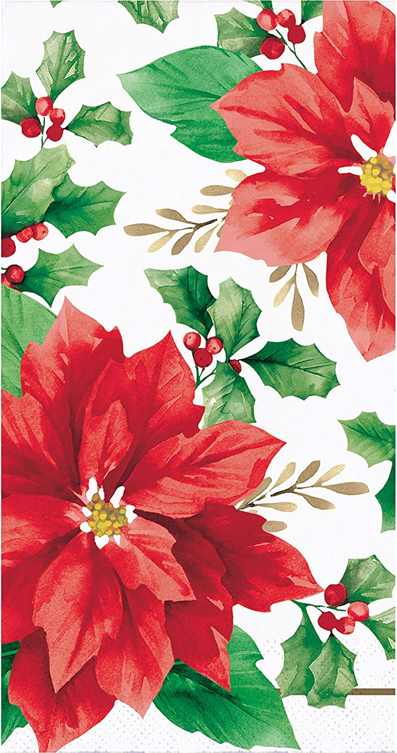 Christmas Red Poinsettia Paper Hand Towels Dinner Napkins – 16 Count