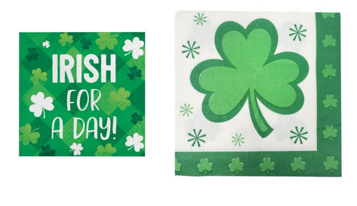 "St. Patrick's Day Shamrock and ""Irish for a day"" Disposable Paper Luncheon/Beverage Napkins Combo"