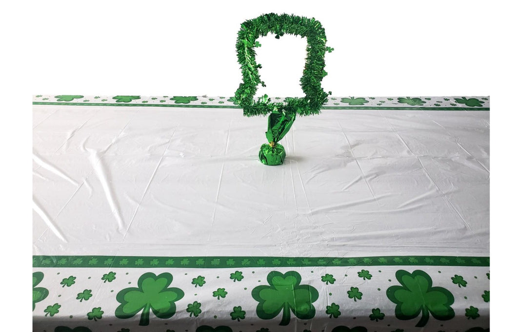 St. Patrick's Day Tinsel Leprechaun Hat Centerpiece and Plastic Table Cover Combo