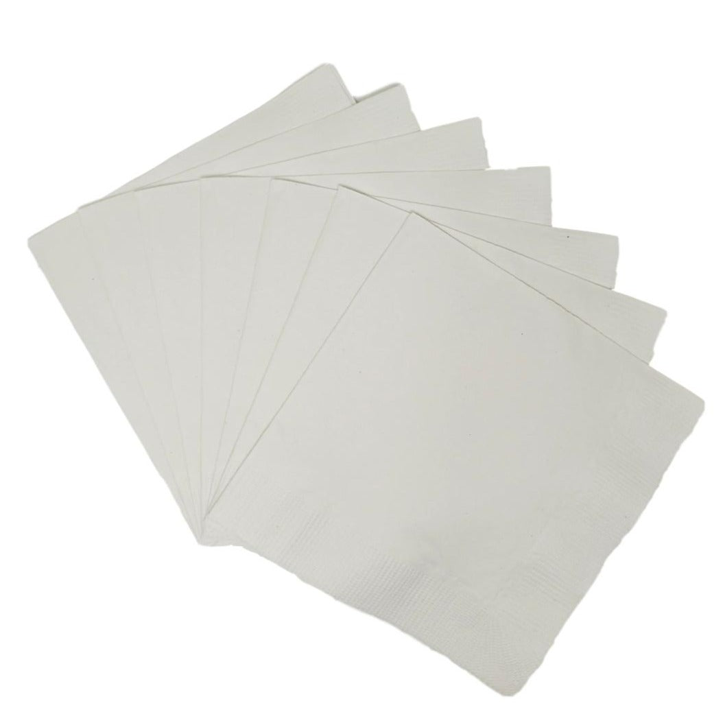 White Plain Solid Color Paper Disposable Cocktail Beverage Napkins