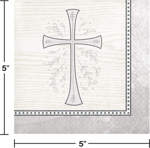 Religious Silver Cross Beverage and Communion Luncheon Paper Disposable Napkins Bundle