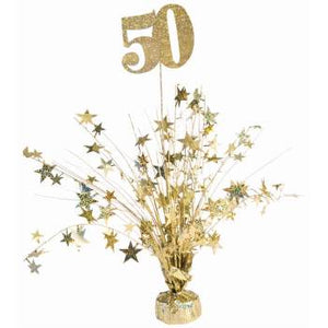 50th Birthday/Anniversary/Special Occasion Gold Spray Centerpiece – 1 Piece