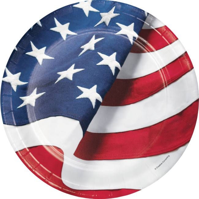 Patriotic Freedom's Flag 9-inch Paper Plates - 8 Count