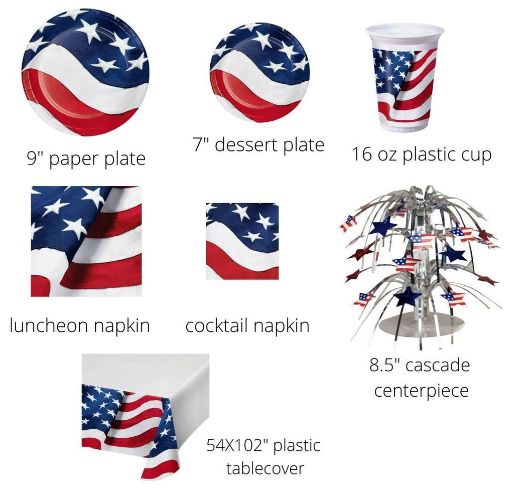 Patriotic Freedom's Flag Tableware Kit for 8 Guests