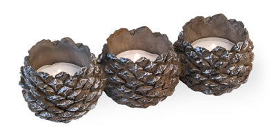 Pinecone Tri-Tealight 7 x 2 Inch Resin Stone Christmas Candle Holder
