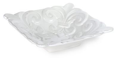 Fleur de Lis White Ceramic Serving Bowl