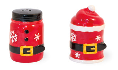 Santa Belt Ceramic Salt & Pepper Shaker Set