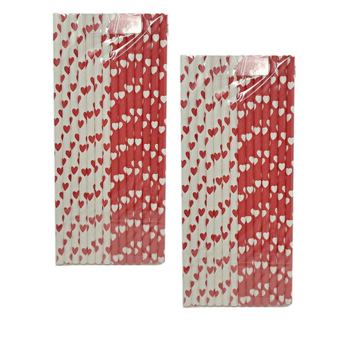 Valentine's Day 14 Count Red and White Paper Straws Assorted – 2 Pack