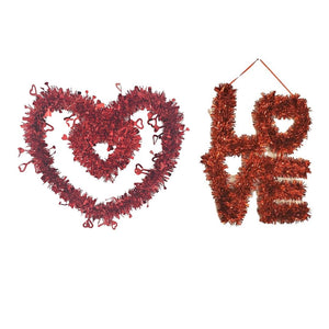 Valentine's Day Red Tinsel Decoration – Double Heart and LOVE sign